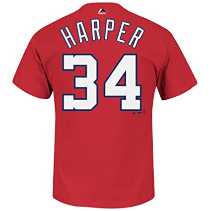 575b82b9a Majestic Bryce Harper Washington Nationals Red Name and Number T-Shirt  X-Large