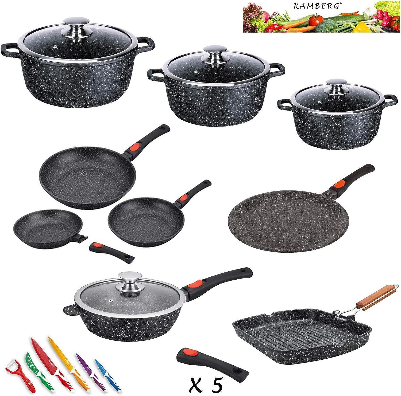 Kamberg 0008163 - Batería de cocina (24 piezas, hierro fundido, revestimiento de piedra, apta para todo tipo de cocinas, incluida inducción, mango extraíble, sin PFOA)
