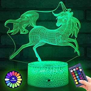 Menzee Unicorn 3D Night Light for Kids,3D Lamp Optical Illusion with Remote Control&Smart Touch 7 Colors 16 Colors Changing Unicorn Toys 10 9 3 5 2 8 1 7 6 4 Year Old Girl Gifts (Unicorn)