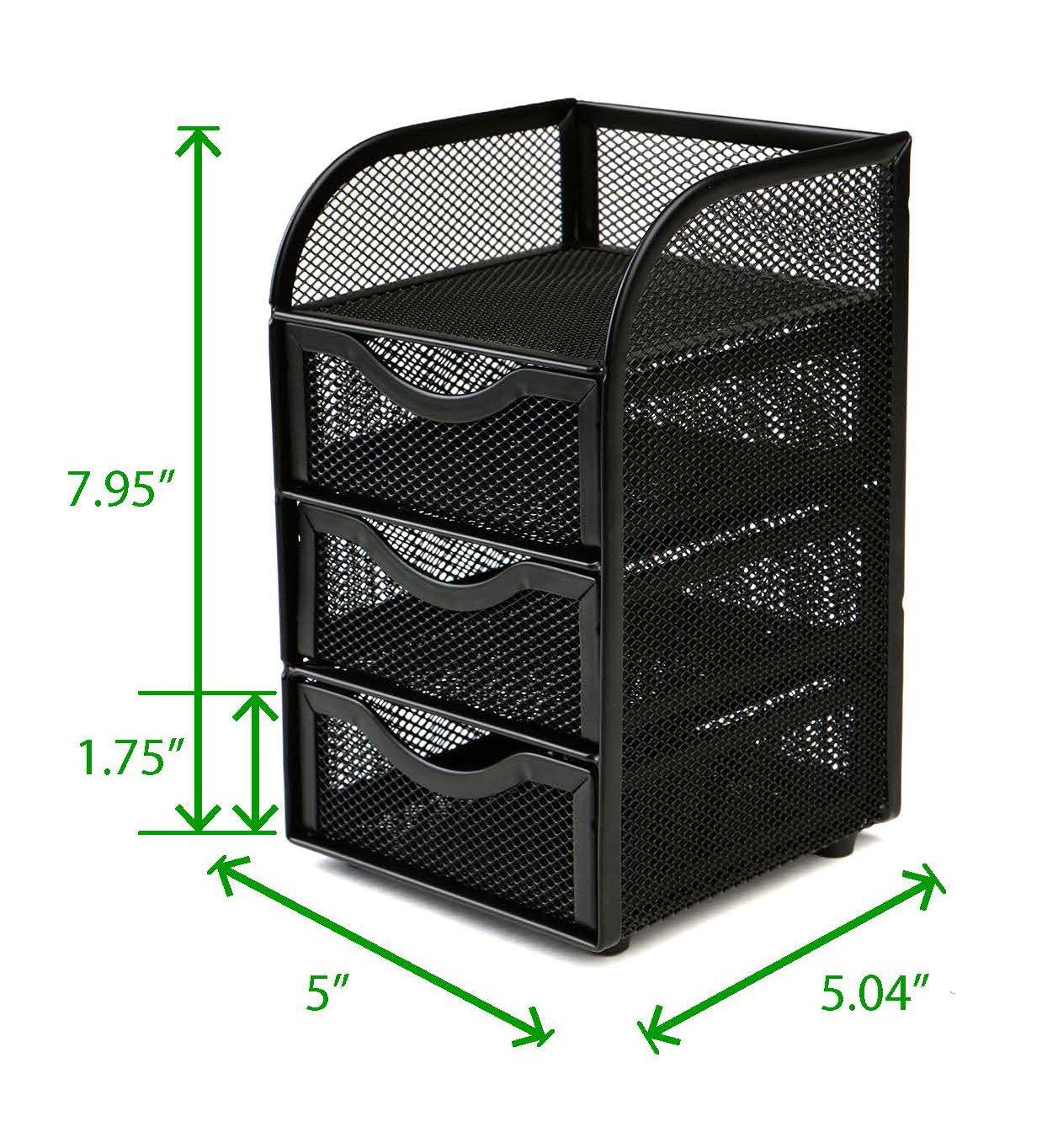 Mind Reader Mini Desk Supplies Office Supplies Organizer, 3 Drawers, 1 Top Shelf, Black
