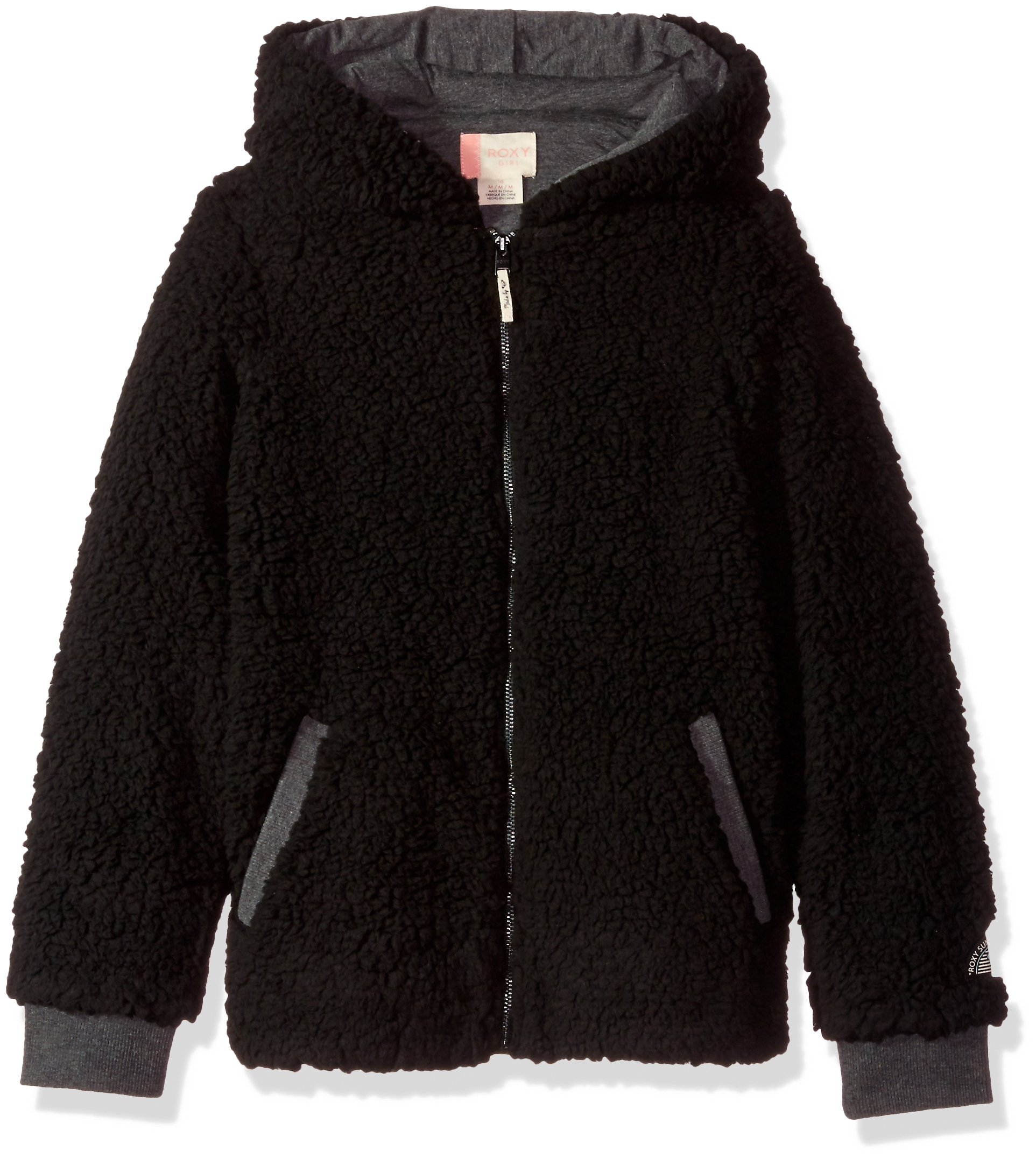 Roxy Big Girls' Fashion Sherpa Sweatshirt, Charcoal Heather, 10/M