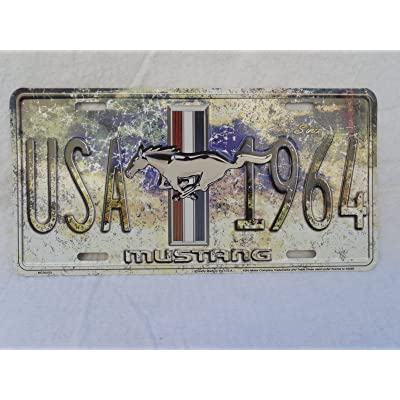 FORD MUSTANG USA SINCE 1964 LICENSE PLATE TAG PONY EMBLEM for bumper frame NEW: Automotive