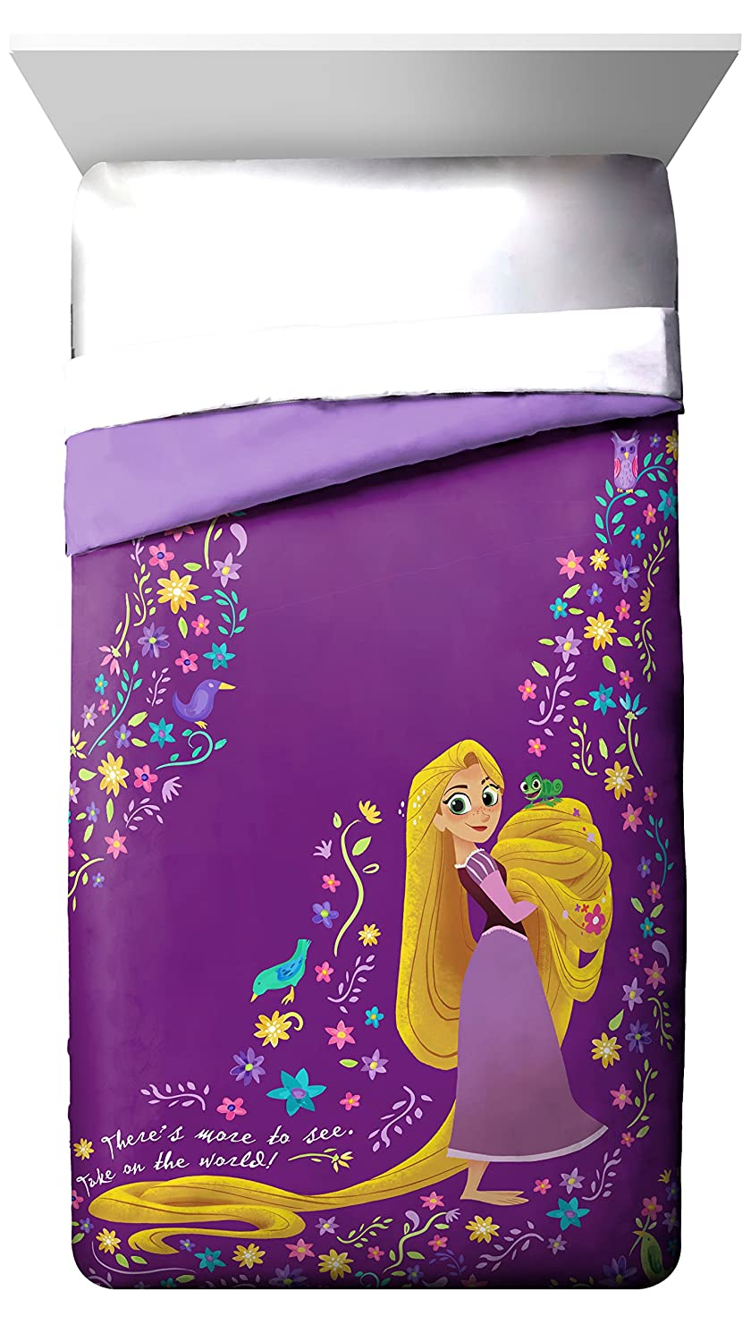 "Disney Tangled There Is More 72"" x 86"" Twin/Full Reversible Comforter, Purple/Yellow"