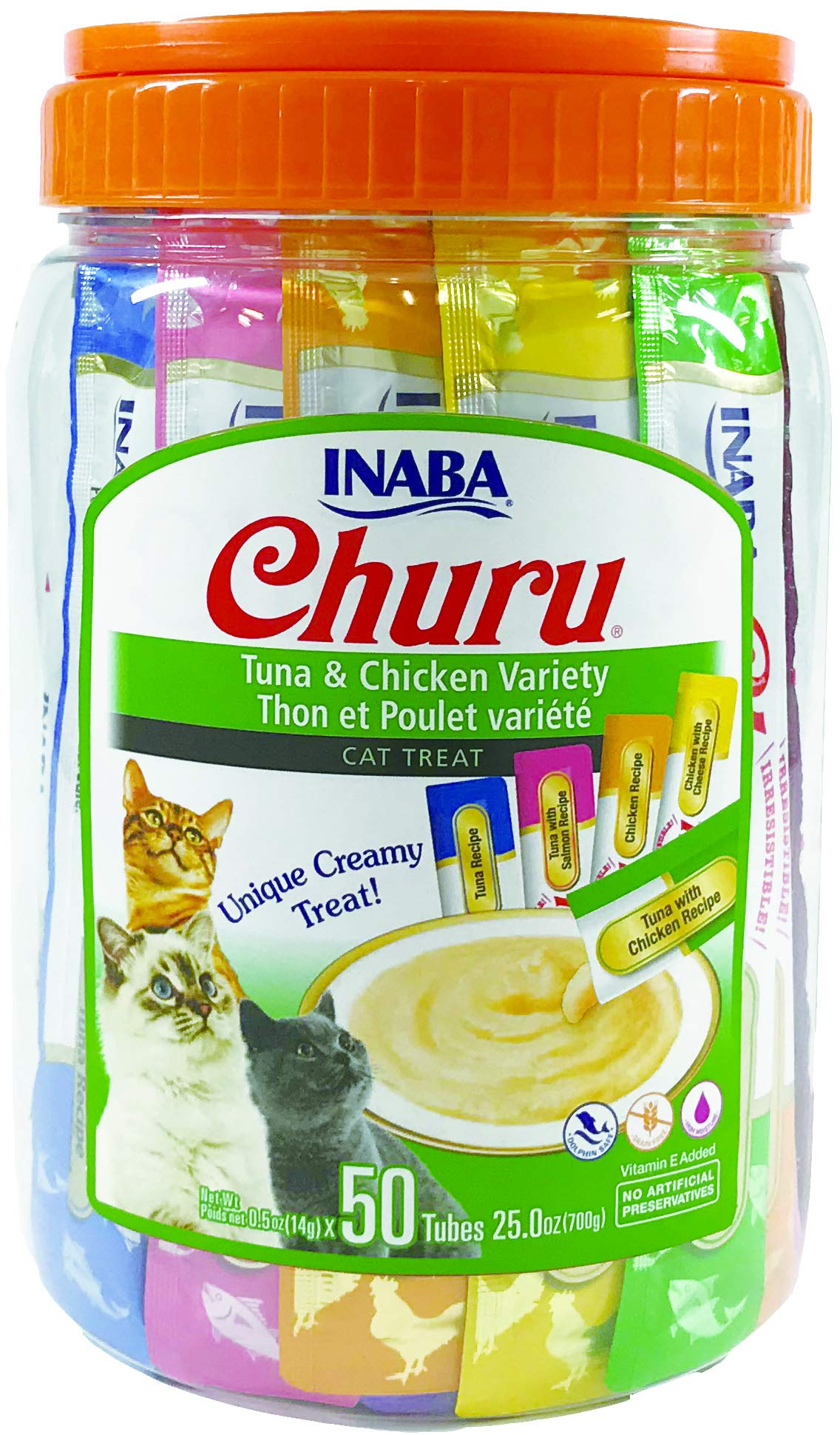 INABA Churu Tuna & Chicken Lickable Creamy Purée Cat Treats 5 Flavor Variety Pack of 50 Tubes by INABA