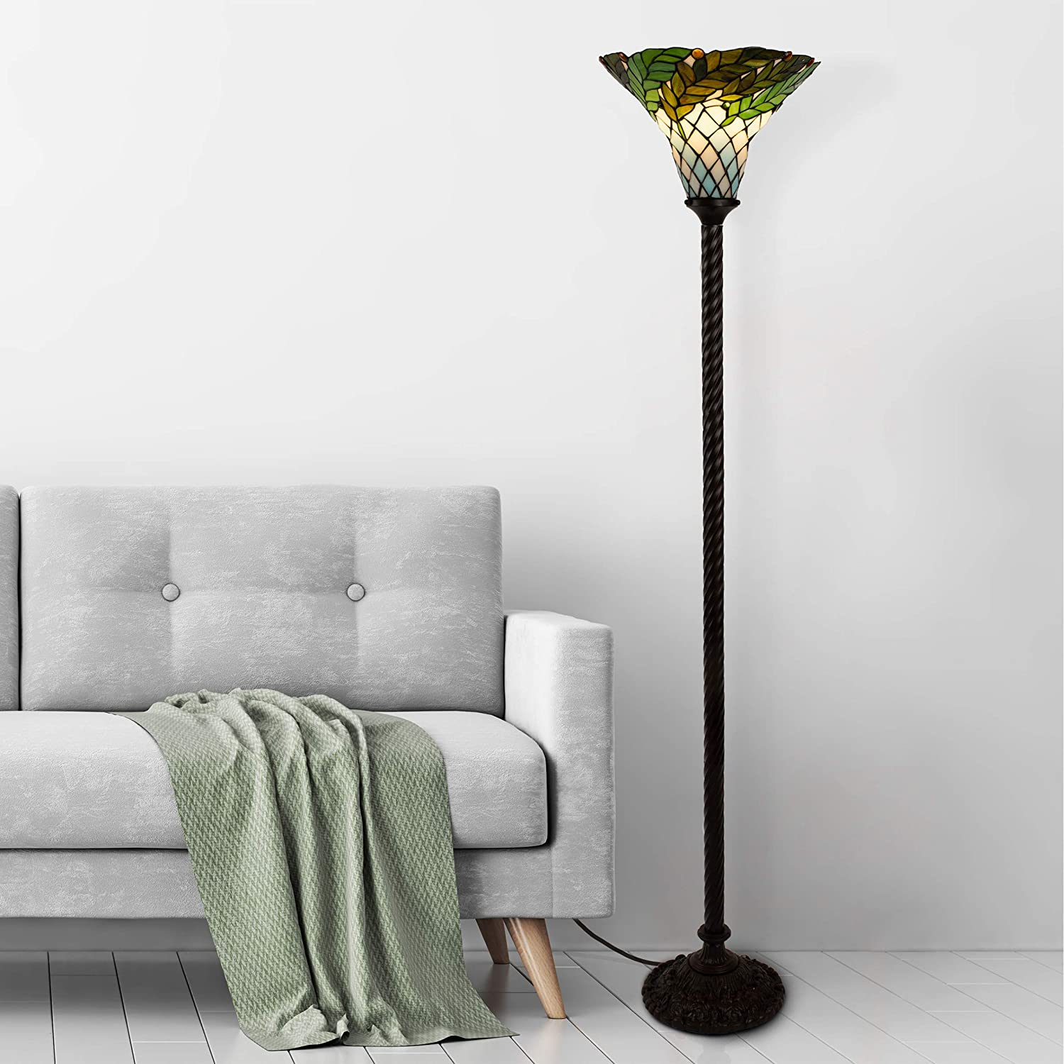 Lavish Home 72-Tiff-8 Tiffany Style Floor Lamp – Leaf Foliage Art Glass Torchiere Lighting LED Bulb Included-Vintage Look Handcrafted Accent Decor, Multicolor