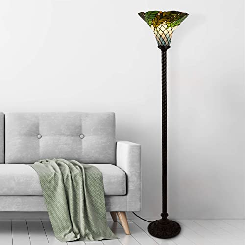 Lavish Home 72-Tiff-8 Tiffany Style Floor Lamp Leaf Foliage Art Glass Torchiere Lighting LED Bulb Included-Vintage Look Handcrafted Accent Decor, Multicolor