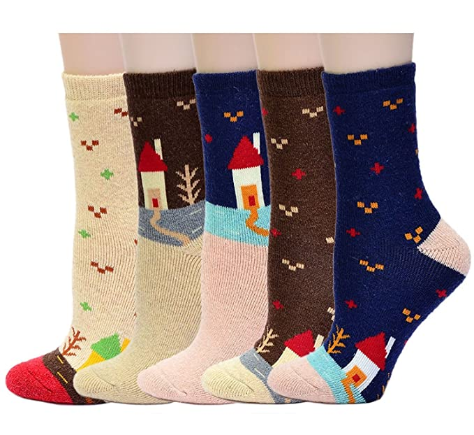 568738ebcb6 Wool Socks or Slipper Socks Size 4-8 Thermal Thick Sherpa Fleece Fur Lining  Perfect Thermal Winter Sock Comfort and Warmth (5 Pack House Socks)  ...