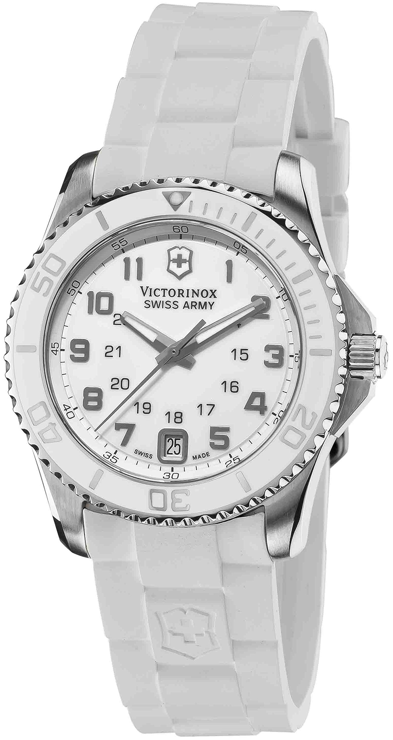 Victorinox Swiss Army Maverick GS Stainless Steel White Womens Watch - 34mm Analog White Face with Second Hand, Date and Sapphire Crystal - White Rubber Band Water Resistant Swiss Ladies Watches 241492