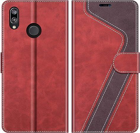 MOBESV Custodia Huawei P20 Lite, Cover a Libro Huawei P20 Lite, Custodia in Pelle Huawei P20 Lite Magnetica Cover per Huawei P20 Lite, Elegante Rosso
