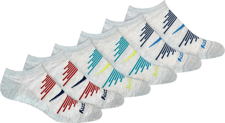 Saucony mens Multi-pack Firework Ventilating Performance Comfort No-show Socks