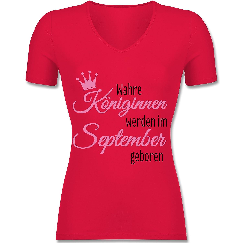 Geburtstag - Wahre Königinnen Werden im September Geboren - Tailliertes T- Shirt mit V-Ausschnitt für Frauen: Shirtracer: Amazon.de: Bekleidung