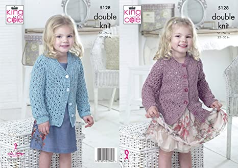 8bcb65d1a King Cole 5128 Knitting Pattern Girls V and Round Neck Cardigans in ...