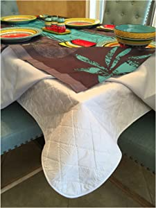 Brilliant Home Design First Quality Quilted Table Protectors - Quilted Dining Table Pad with Flannel Backed for More Protection (60 in x 84 in)