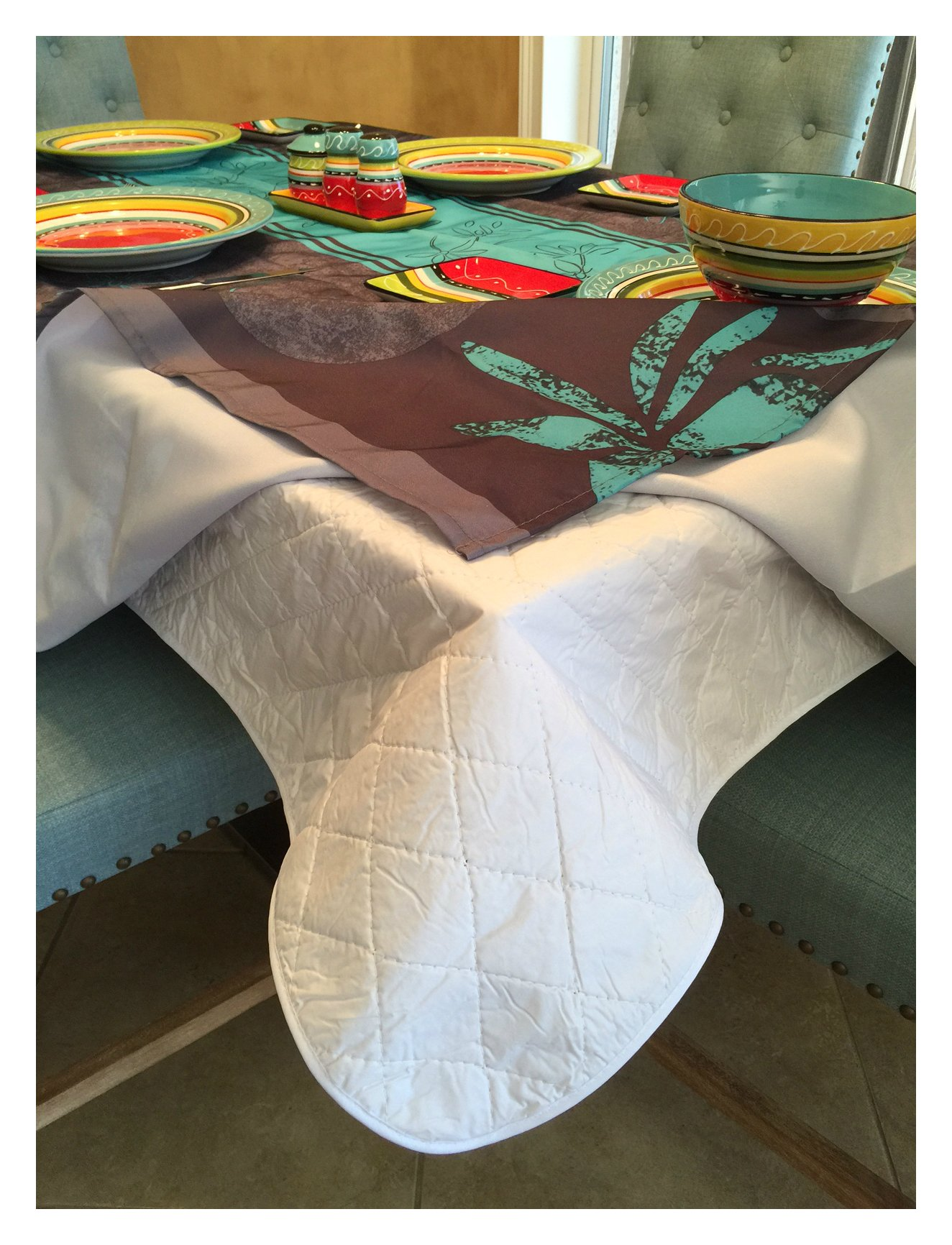 Brilliant Home Design First Quality Quilted Table Protectors - Quilted Dining Table Pad With Flannel Backed For More Protection (60 in x 102 in)
