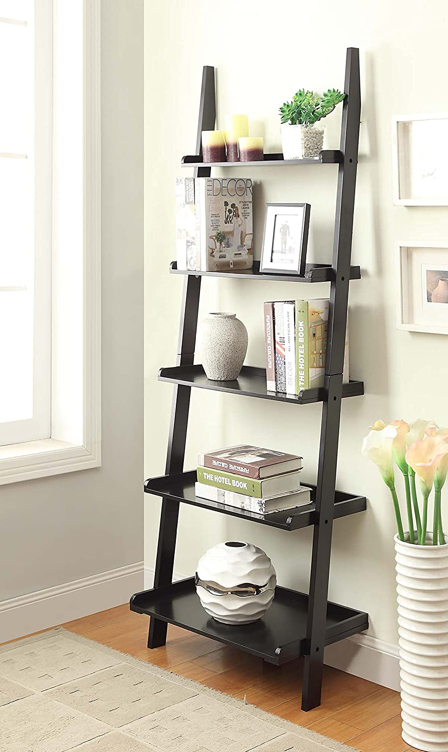 Amazon.com: Convenience Concepts American Heritage Bookshelf Ladder, Black:  Kitchen & Dining