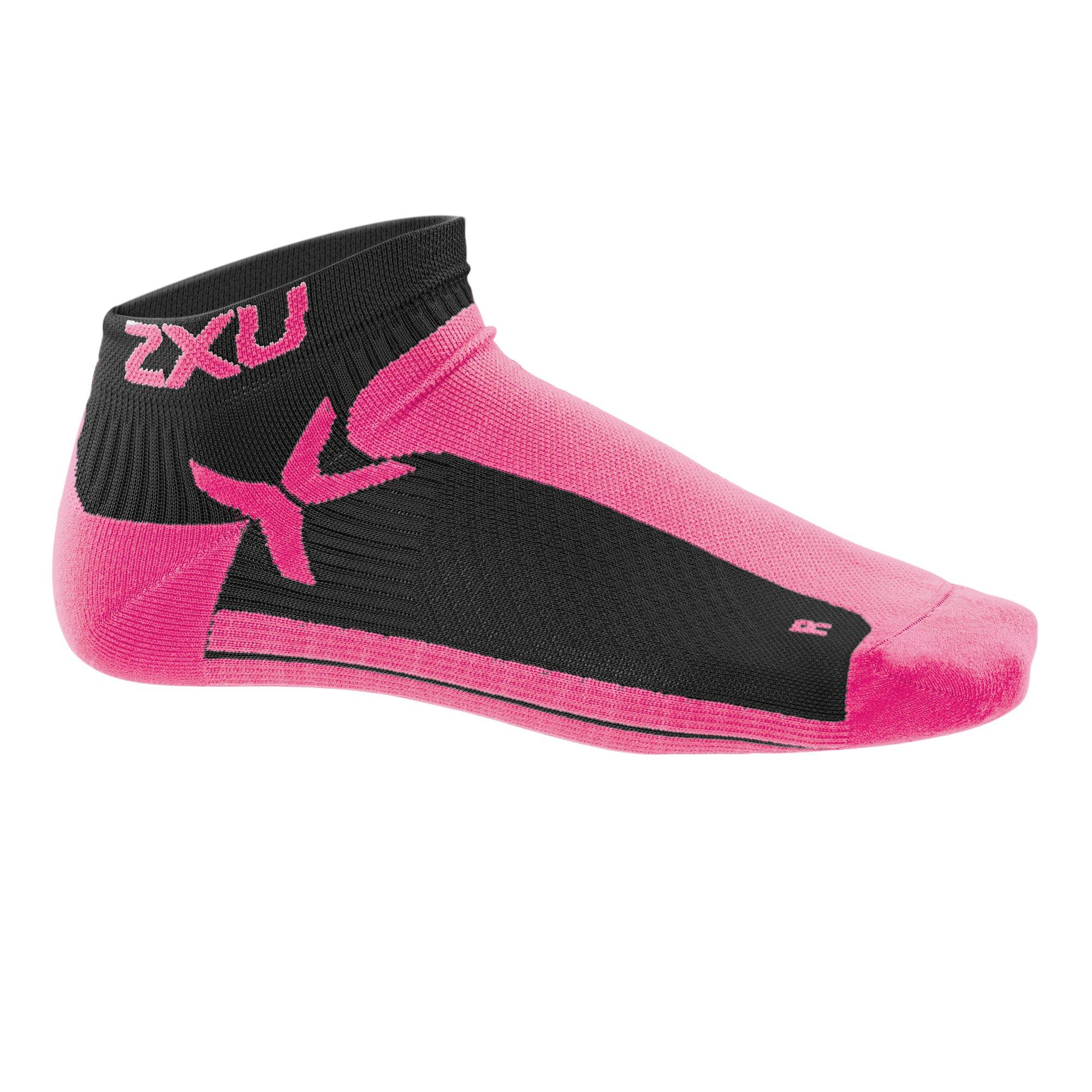 2XU Men's Performance Low Rise Socks, Black/Cerise