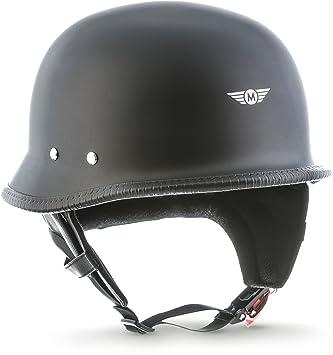 Casco de moto Moto D33 negro mate, tipo jet, para chopper, scooter, estilo retro, hebilla Secure™, con bolsa, talla L (59-60 cm)