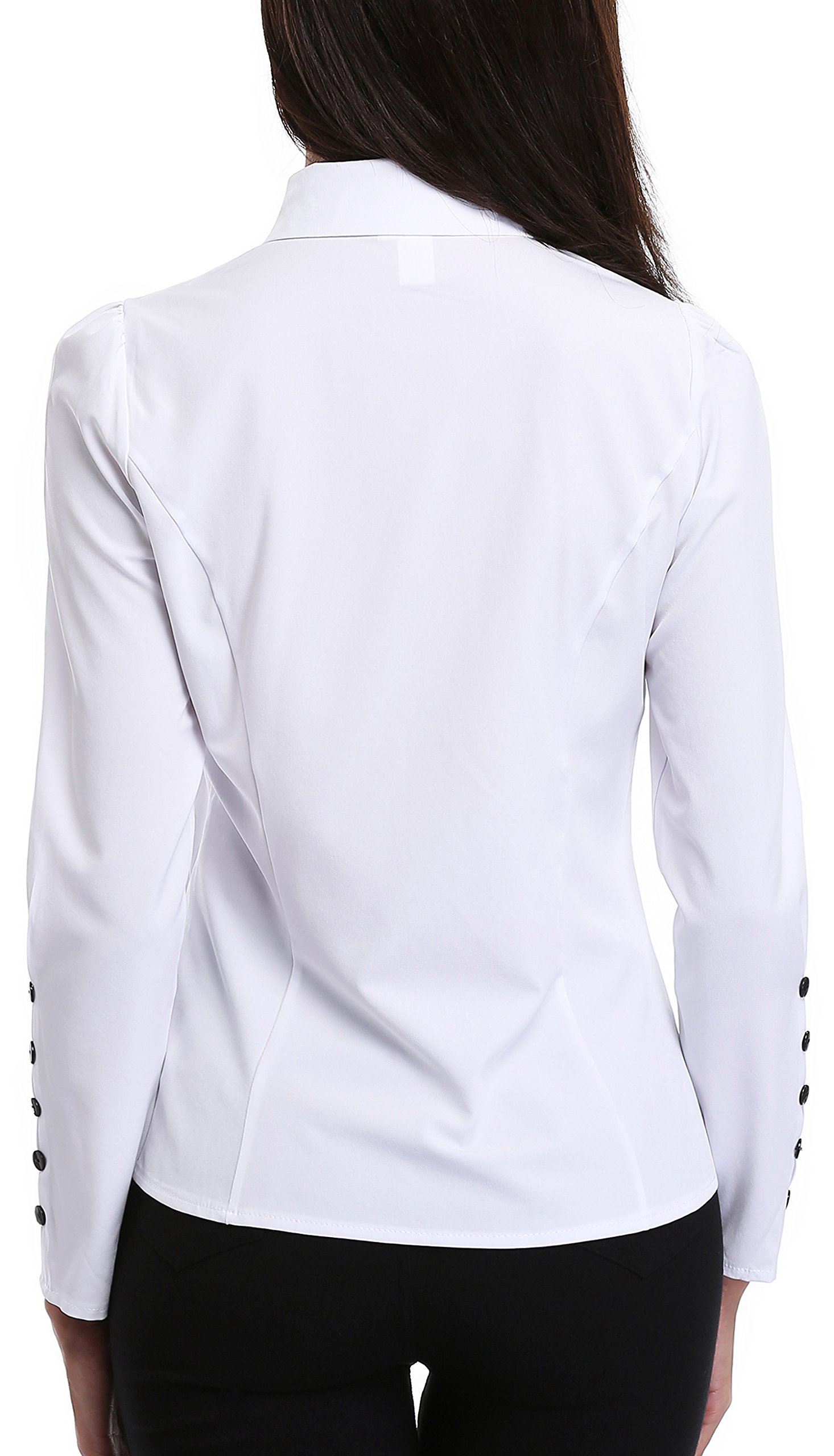 MISS MOLY Women's White Button Down Shirt V Neck Collar Puff Sleeve Office M by MISS MOLY (Image #6)