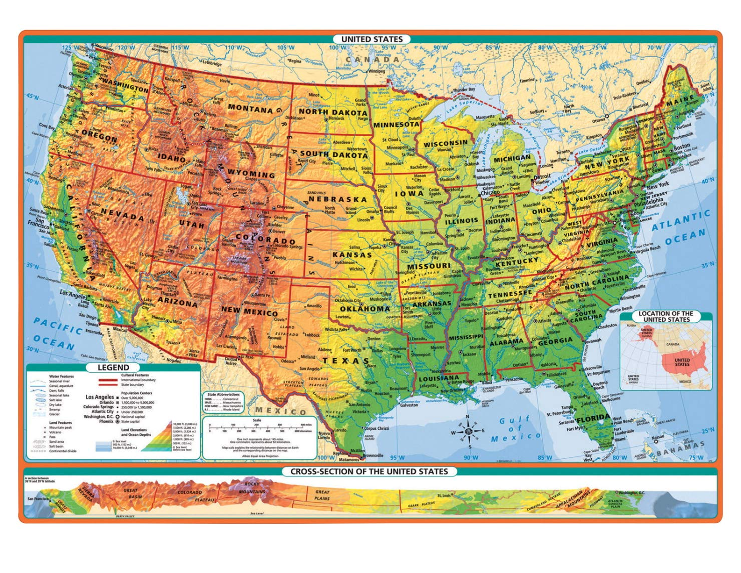 Amazon.com : Rand McNally Physical-Political United States ...