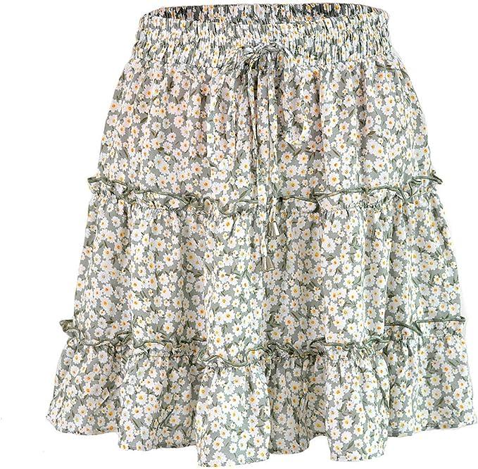 Falda de Verano para Mujer 2019 Bohe de Cintura Alta con ...