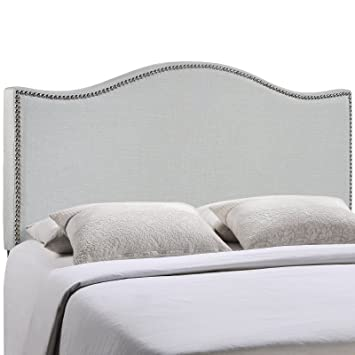 designer fashion b117b abc1f Modway Curl Linen Fabric Upholstered King Headboard with Nailhead Trim and  Curved Shape in Gray