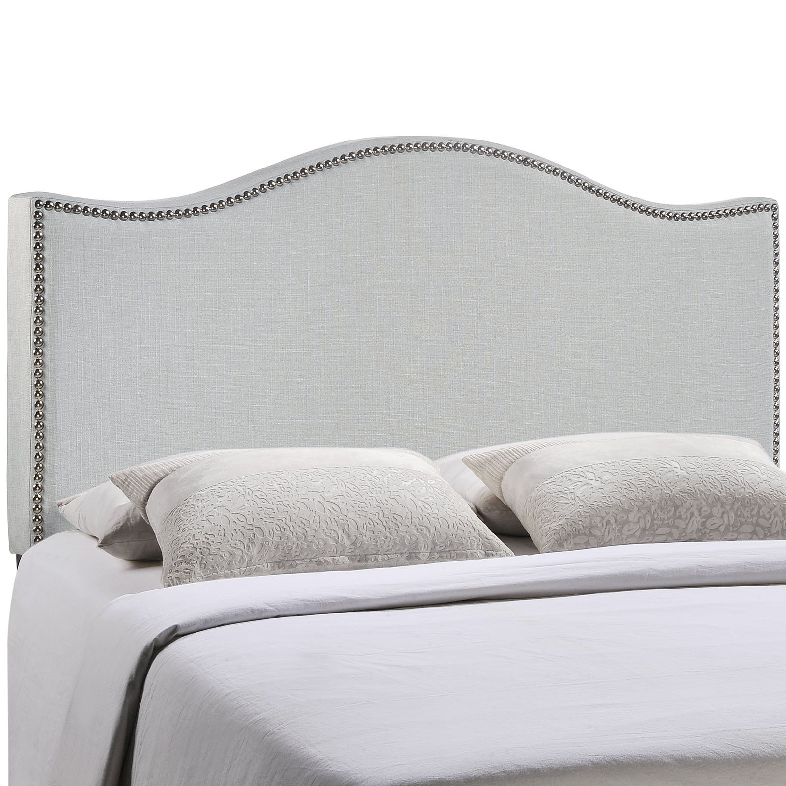 Modway Curl Upholstered Linen Fabric Full Headboard Size With Nailhead Trim and Curved Shape in Sky Gray Fabric