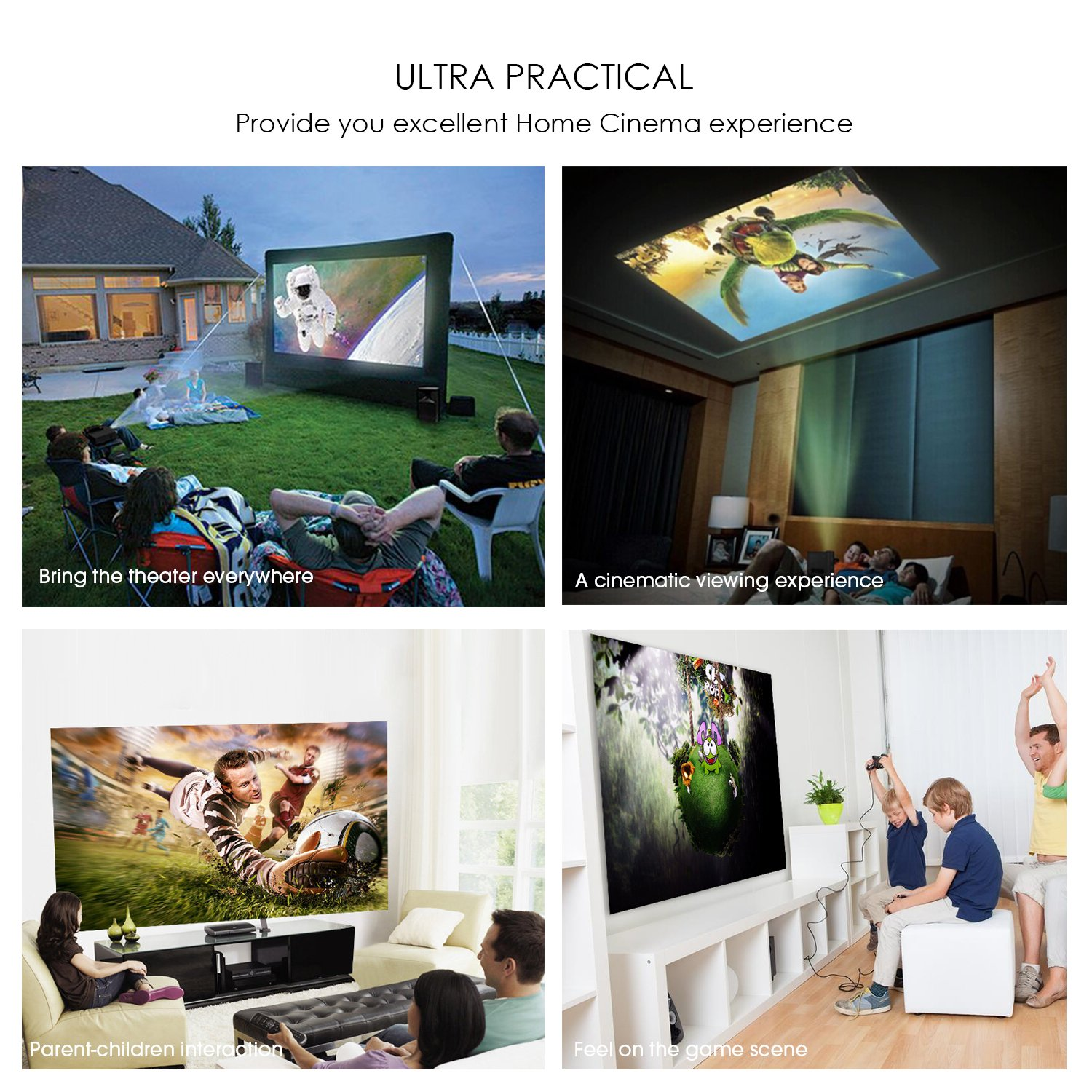 DBPOWER T21 Upgraded LED Projector,1800 Lumens Multimedia Home Theater Video Projector Supporting 1080P, HDMI, USB, SD Card, VGA, AV for Home Cinema, TV, Laptops, Games, Smartphones & iPad by DBPOWER (Image #7)