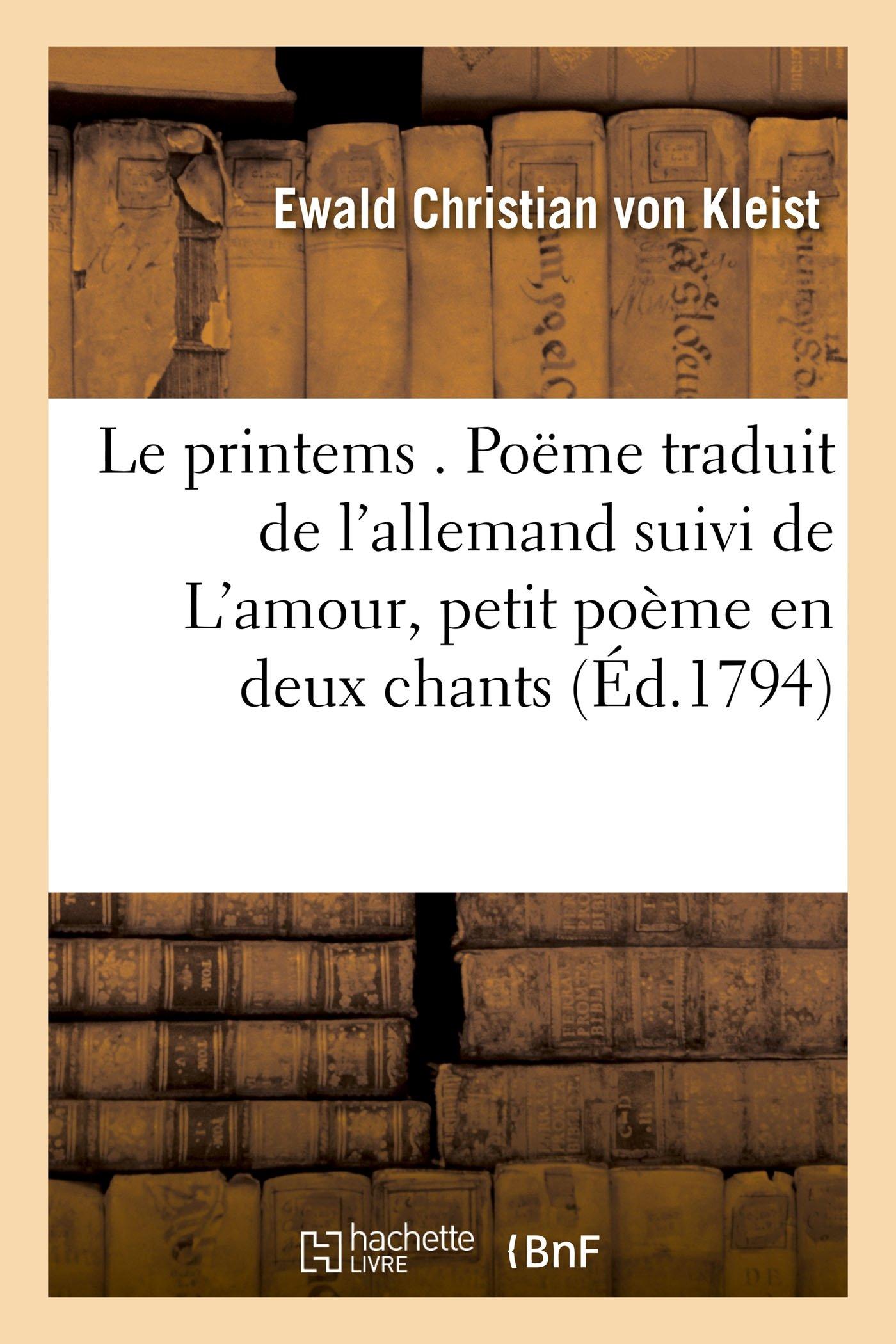 Amazonin Buy Le Printems Poème Traduit De Lallemand De
