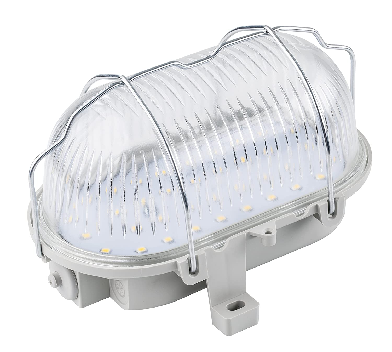 as - Schwabe Ovalleuchte 60 W, 230 V für Leuchtmittel E 27 nicht enthalten, Aussenbereich Ip 44, hellgrau 56200
