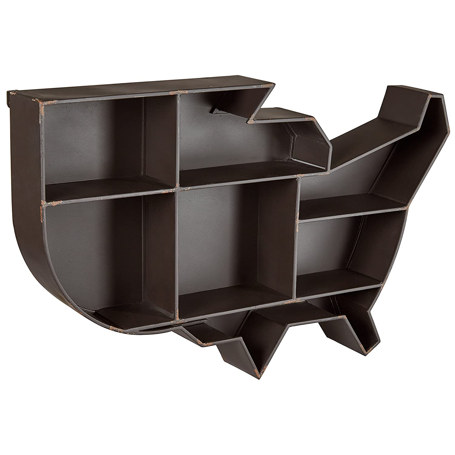 Stone Beam Contemporary United States Floating Wall Shelf – 28 x 18 x 4 Inch, Black Metal