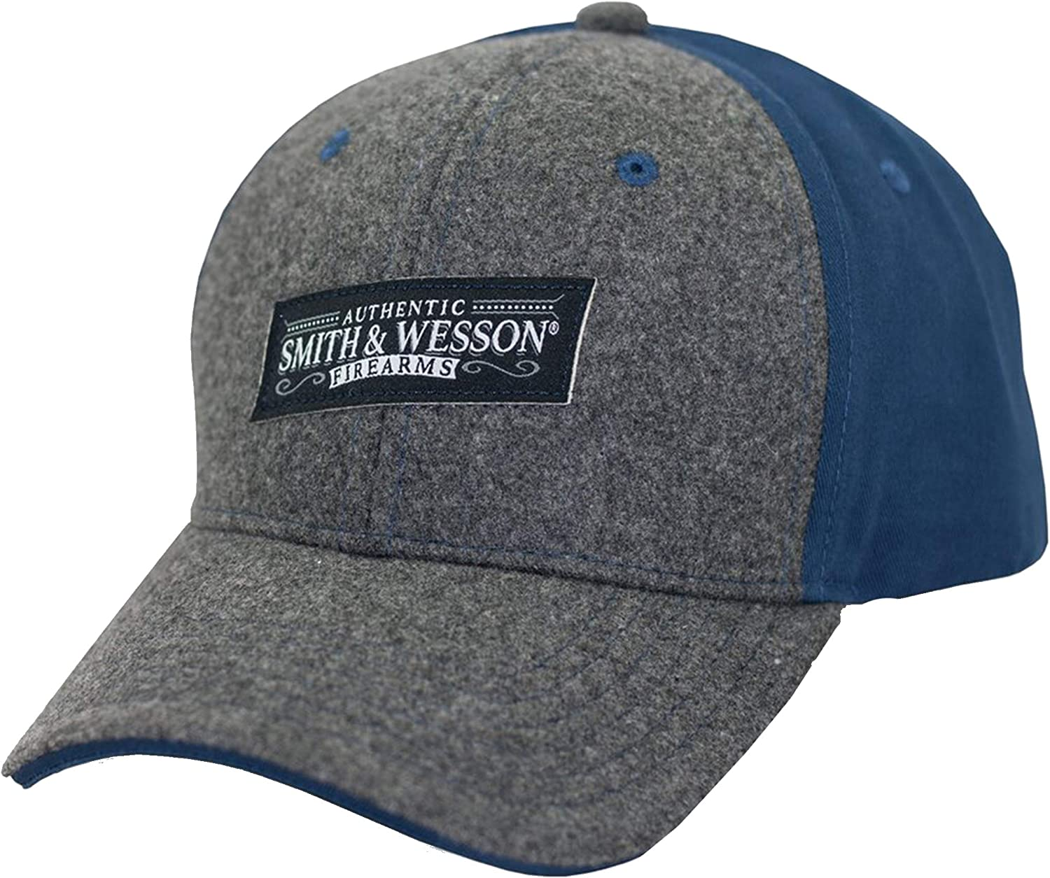 Officially Licensed Smith /& Wesson S/&W Woven Label Logo Gray and Blue Melton Cap