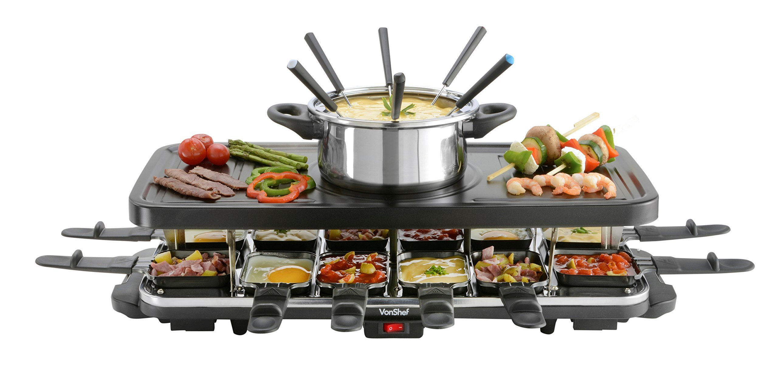 VonShef Raclette Party Grill with 6 Fork Fondue Set and 12 Raclette Pans