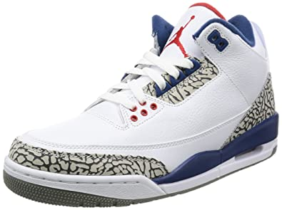 official photos a53e3 6f1dd Amazon.com   Nike Men s Air Jordan 3 Retro OG White Fire Red-true Blue - 8  D(M) US   Basketball