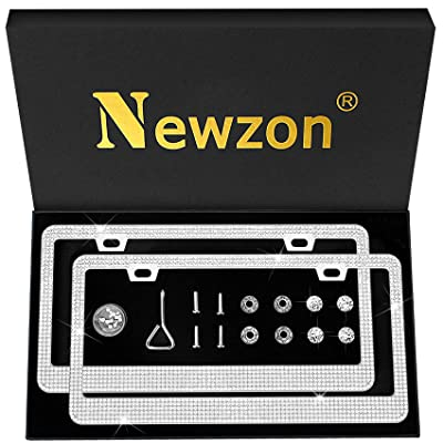 Newzon License Plate Frame For Women - 2 Pack White Rhinestone Stainless Steel Metal License Plate Frame Bling With Gift Box - 2 Holes Sparkly Glitter License Plate Frame, Crystal Anti-Theft Screw Cap: Automotive
