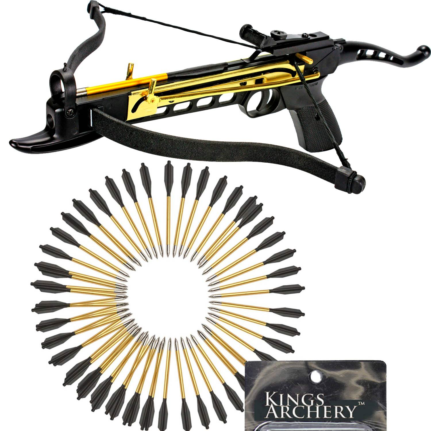 Crossbow Self-Cocking 80 LBS by KingsArchery® with Adjustable Sights and a Total of 63 Aluminim Arrow Bolt Set + KingsArchery® Warranty