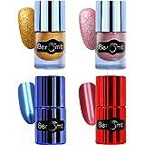 Beromt Mirror Nail Polish, Sand nail polish, texture party polish, mettalic nail polish Combo Pack of 4, 11 ml Each | Blue, Red, gold, pink