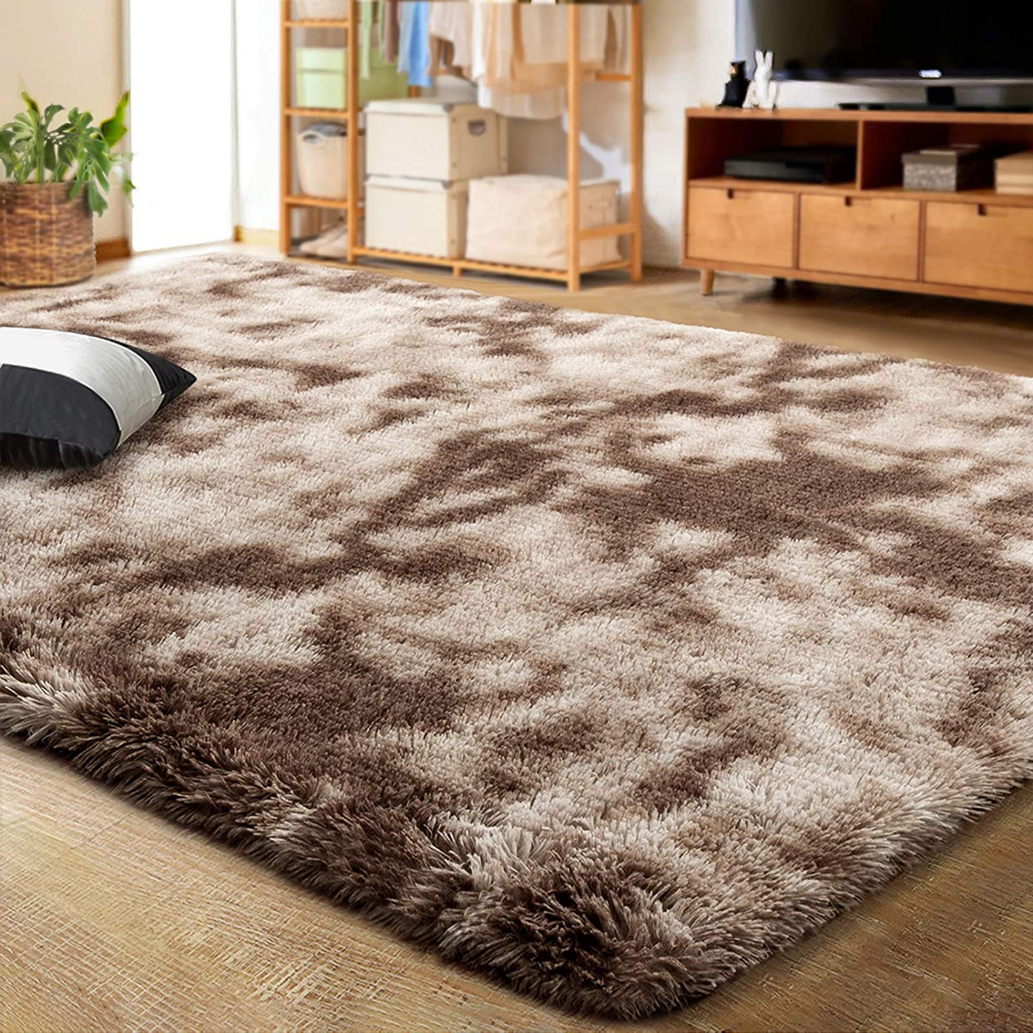 Amazon Com Lochas Luxury Velvet Shag Area Rug Modern Indoor Fluffy Rugs Extra Comfy And Soft Carpet Abstract Accent Rugs For Bedroom Living Room Dorm Home Girls Kids 4x6 Feet Brown Ivory Kitchen