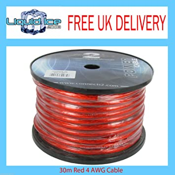 4 Gauge AWG 20 mm² rot Power Ground Kabel Verkabelung Verkabelung ...
