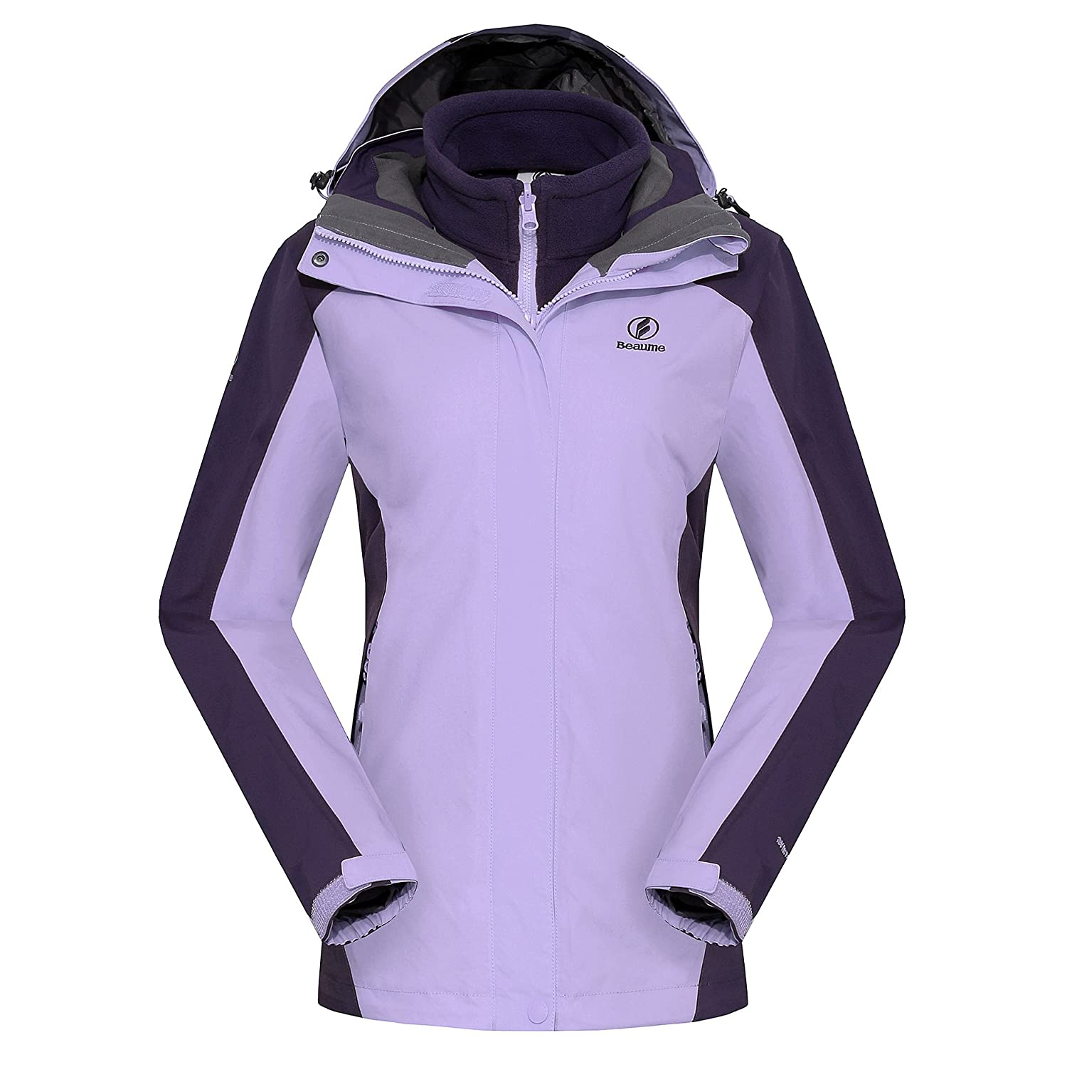 Beaume Women Waterproof Jacket Softshell Jackets with Hood-3 In 1 - 3 colors