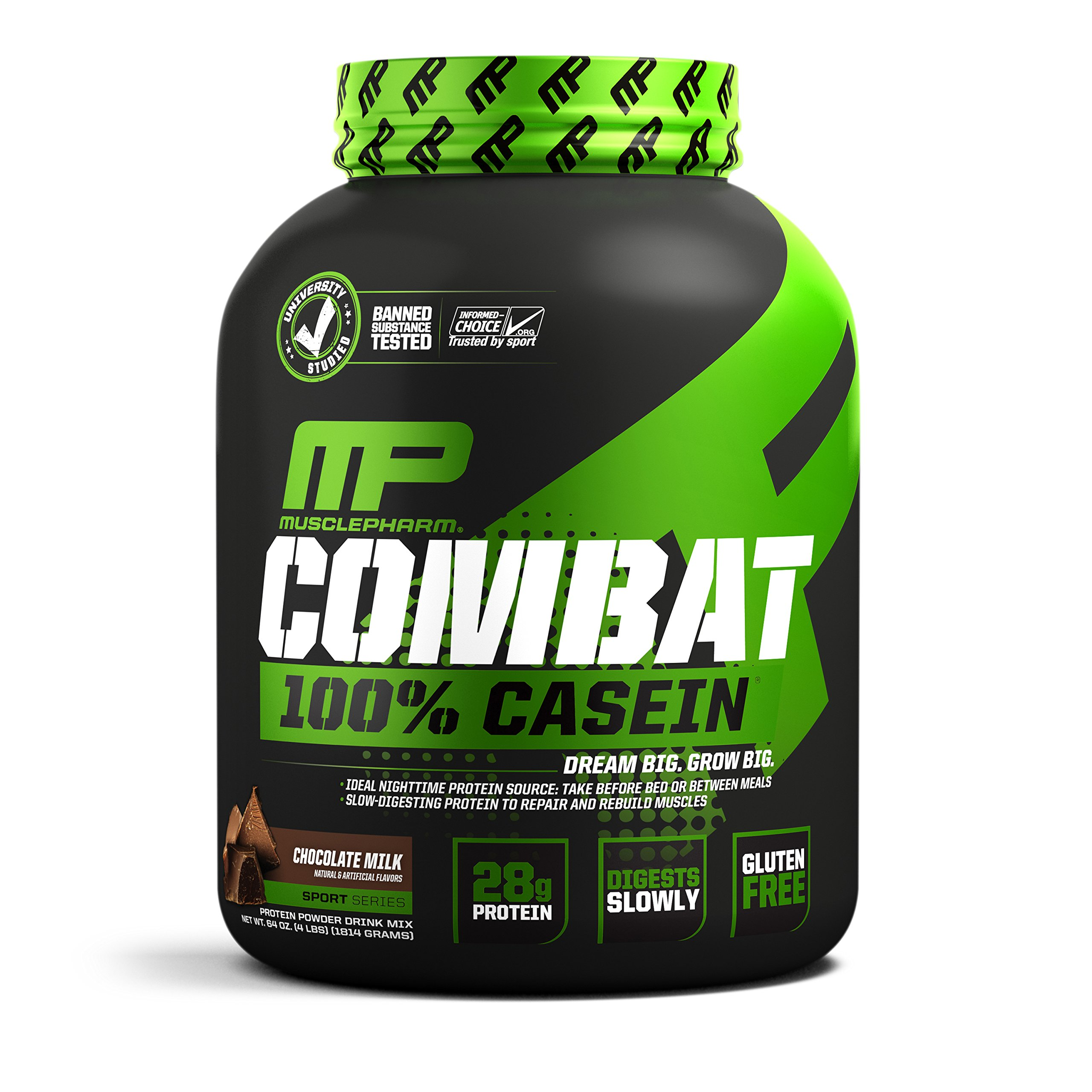 MusclePharm Combat 100% Casein Supplement, Casein Protein Powder, Muscle Supplement, 100% Micellar Casein, Rebuilds Muscle, 28 Grams of Slow-Digesting Protein, Chocolate Milk, 4-Pounds, 52 Servings by Muscle Pharm