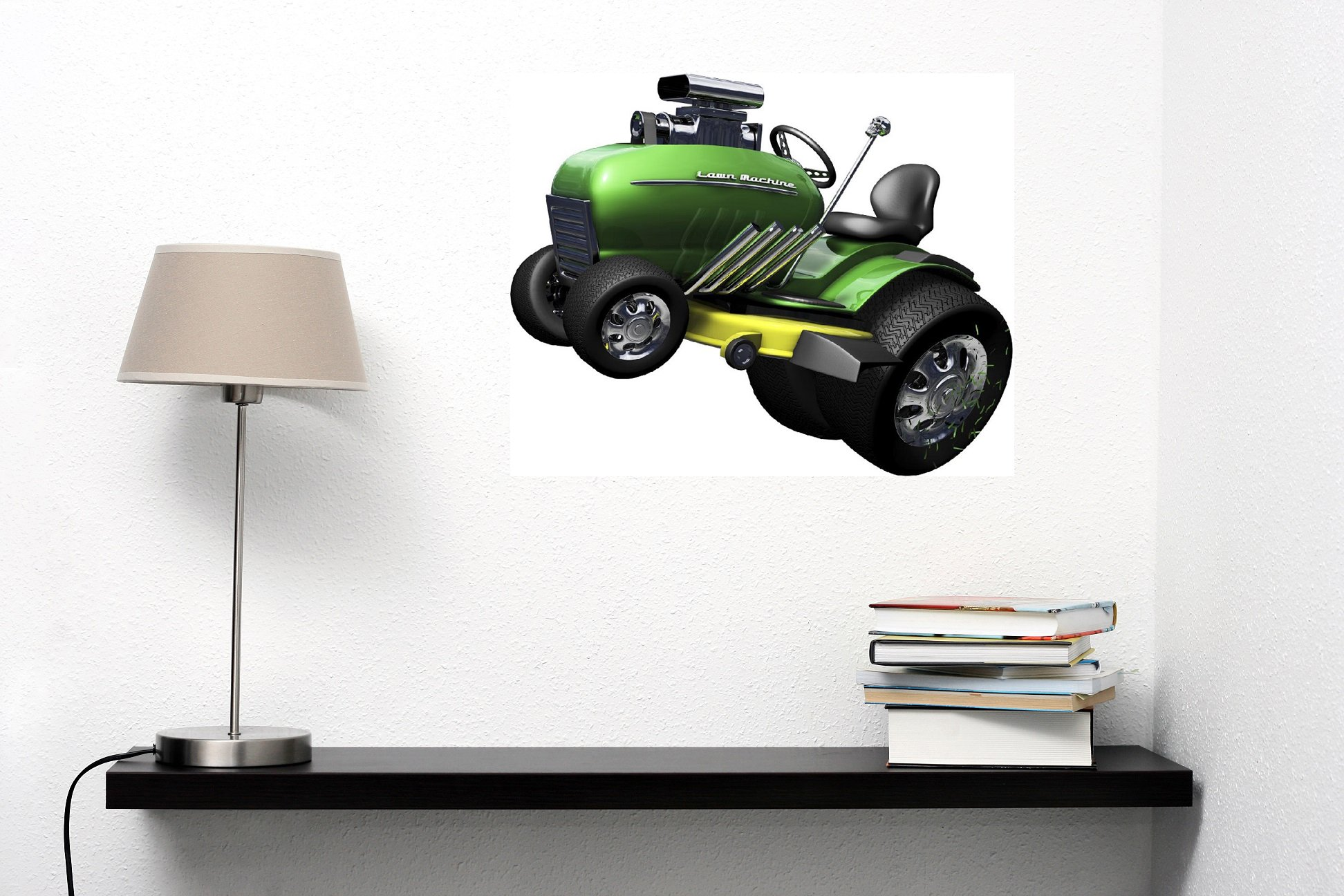 12'' Lawn Mower Machine Hot Rod Racer #1 **HOT** Wall Graphic Decal Sticker Mural Home Kids Game Room Art Decor NEW !!