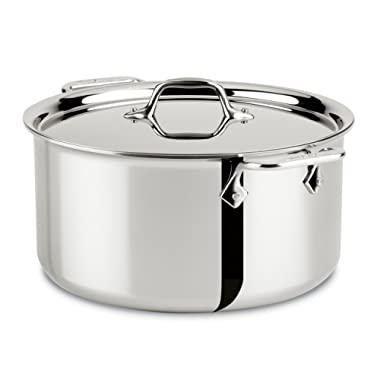 All-Clad 4508 Stainless Steel Tri-Ply Bonded Dishwasher Safe Stockpot with Lid/Cookware, Silver