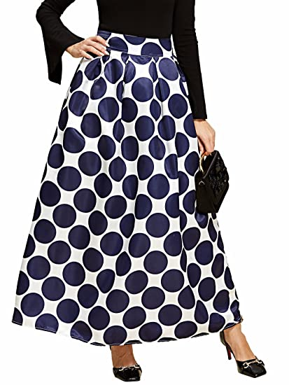 34f3287415 Romwe Women s Vintage High Waist A Line Boxed Pleated Polka Allover Dot  Print Maxi Skirt Navy