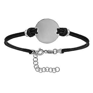 Bracciale regolabile in lunghezza: 14fino a 17cm Disc Double Cord nero in argento Sterling 925–Individualmente gestalt Bar: con diamanti So Chic Schmuck M52007