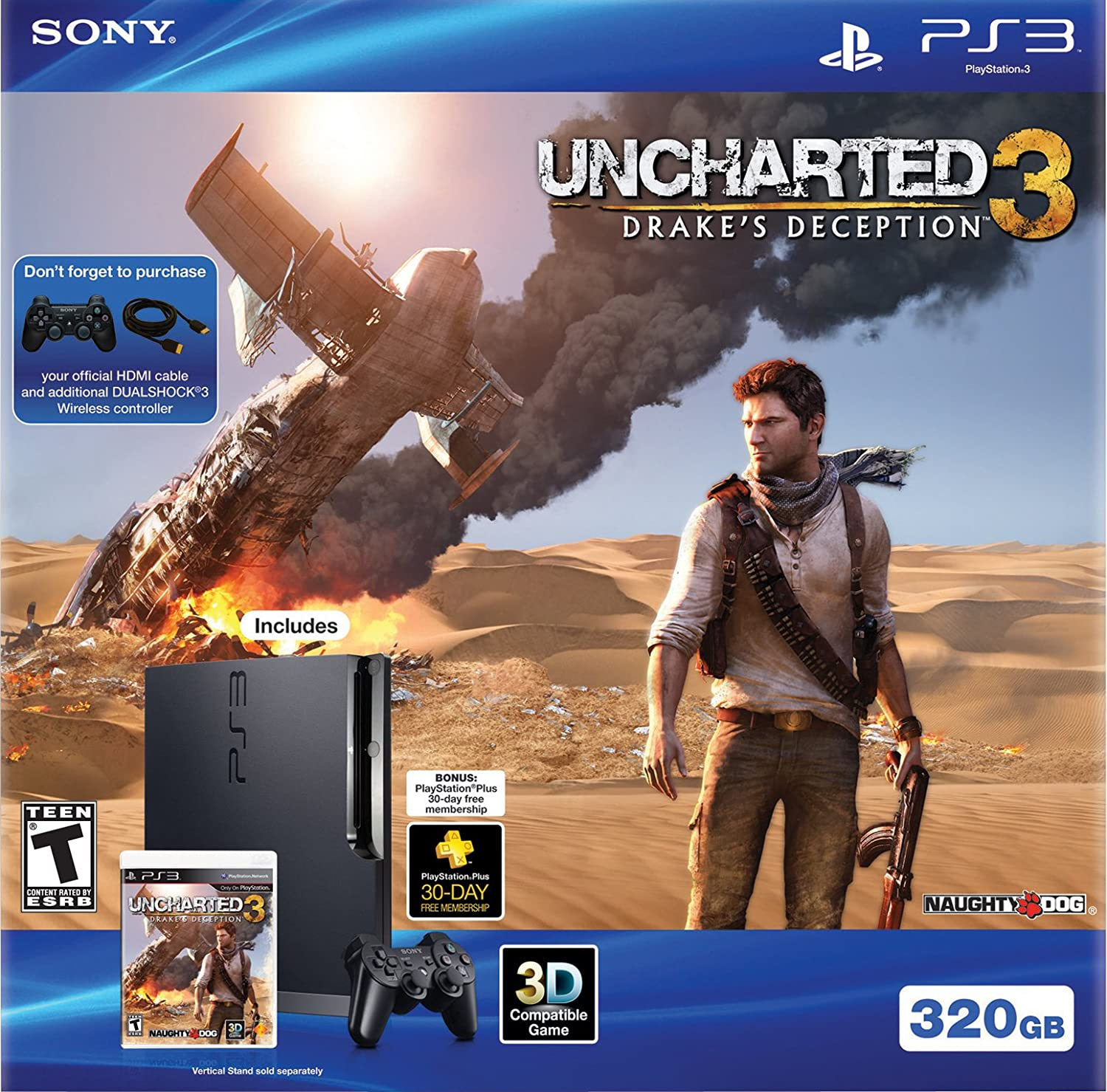 Amazon Com Ps3 320gb Uncharted 3 Bundle Video Games