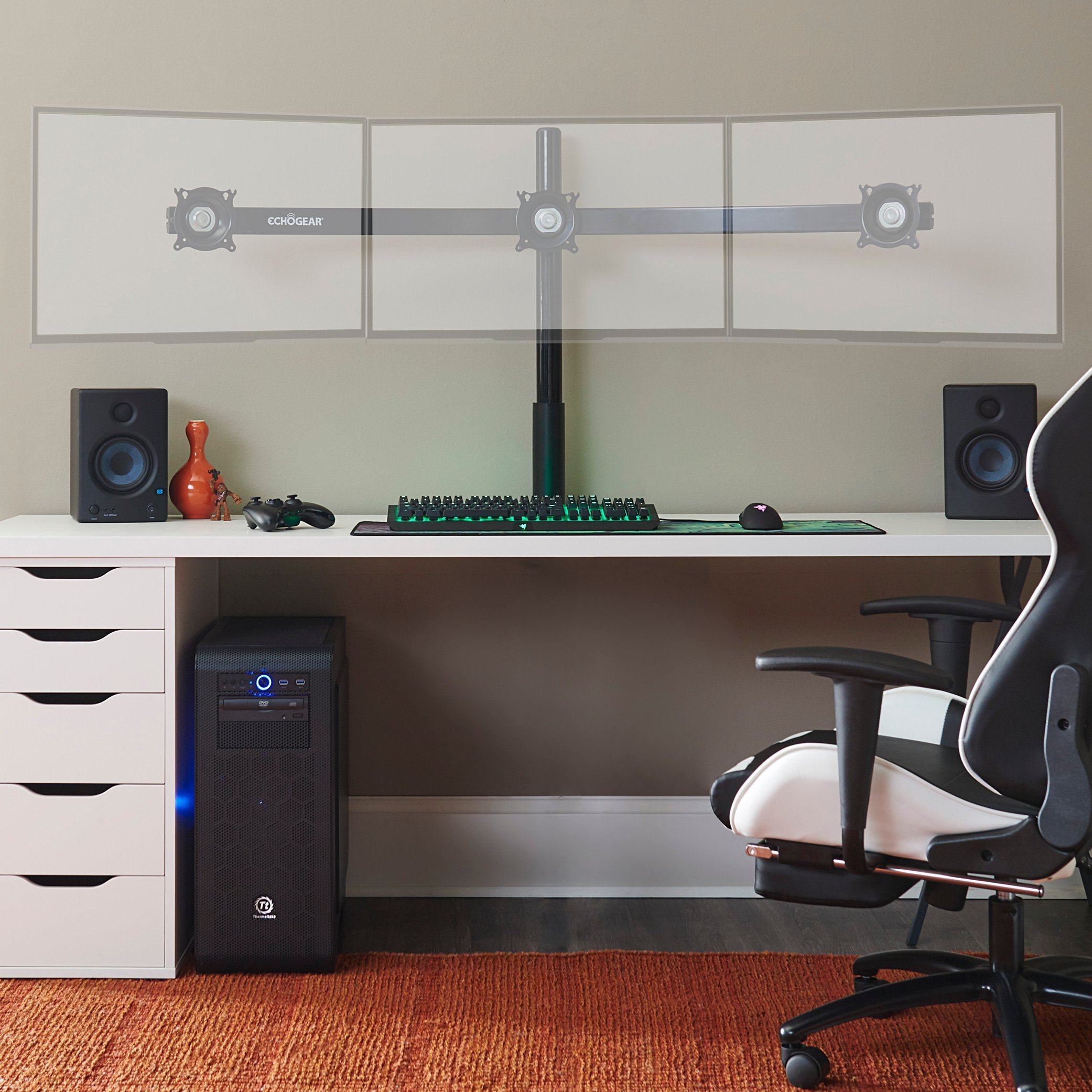 ECHOGEAR Triple Monitor Desk Mount Stand For Screens Up To 27 Inches - Height-Adjustable For Comfortable Gaming & Work - Works With 3 Vertical Or Horizontal Monitors - Perfect For Array-Style Gaming