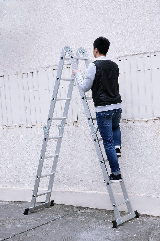 15.4 FT, Multi-prop/ósito Extensible, Buena Calidad, Mayor Seguridad, Aluminio Finether-4.7M Escalera Plegable Con Panel