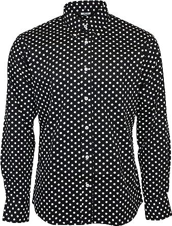 vraie qualité prix de gros la clientèle d'abord Homme Relco Noir Pois Manche Longue Boutonné 100% Chemise Coton