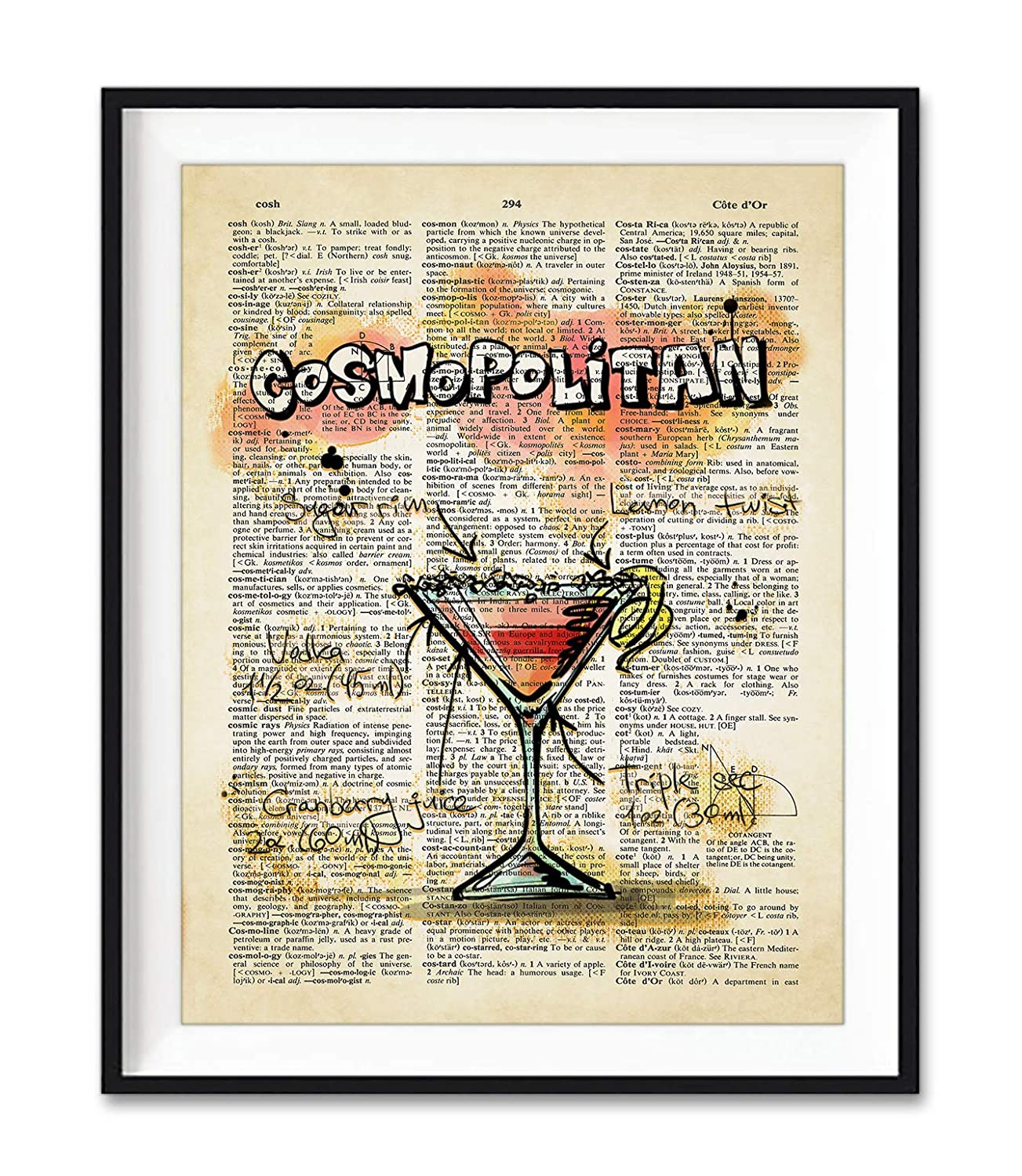 Amazon Com Cosmopolitan Cocktail Drink Recipe Art Print Unframed Bar Decor Vintage Highlighted Dictionary Page Wall Art Poster Sign All Sizes Handmade