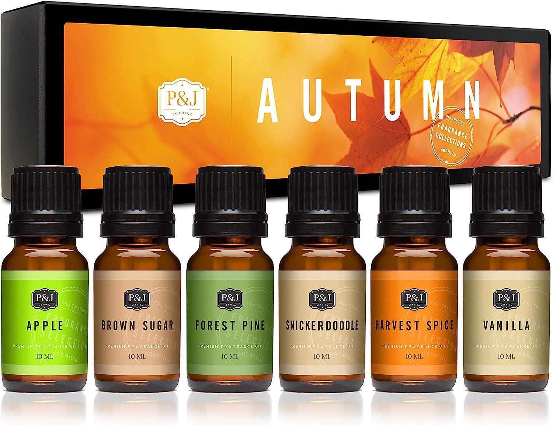 Amazon Com Autumn Set Of 6 Premium Grade Fragrance Oils Brown Sugar Apple Harvest Spice Vanilla Forest Pine Snickerdoodle 10ml Health Personal Care